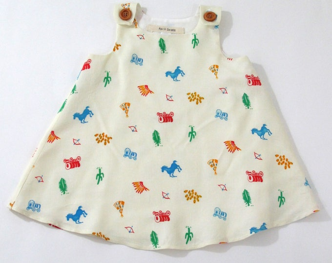 Girls Dress, Cowboys & Indians Dress, Wild West Dress, Baby Dress, Toddler Dress, Horses, Covered Wagons, Teepees, Newborn to Girls 6