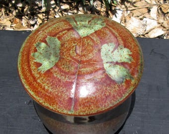 French Butter Crock with Columbine Leaf Impressions Orange and Speckled Green