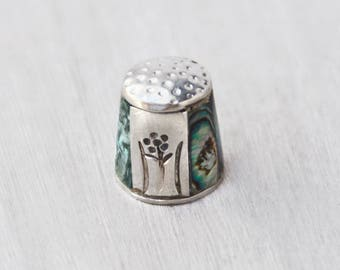 Vintage Abalone Inlay Thimble - alpaca silver with flower and inlaid shell - made in Mexico - gift for seamstress