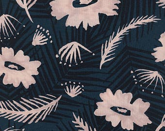 Cotton + Steel Poolside rayon - palm springs bouquet - blue - 50cm - PRE-ORDER