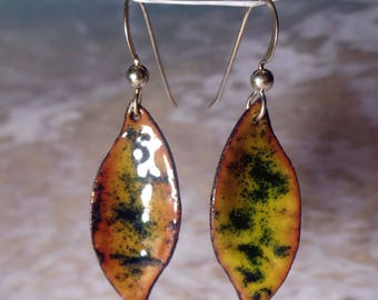 Enamel Earrings, Enamel on copper, Yellow and black with some  red tints, Argentium Earwires, dangle earrings, 1 inch earrings, yellow