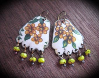 Tin Earring. Tiny Tin, Vintage Tin Repurposed. Frida Kahlo Inspired. Bohemian Dangle Earrings.