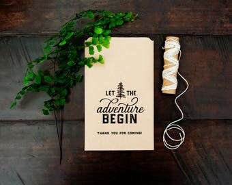 Trail Mix Wedding Favor Bags - Kraft Paper Favor Bags - Let the Adventure Begin - Wedding or Shower Favor - 5 Kraft Bags