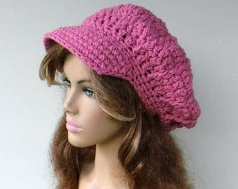 Newsboy hat, rose pink visor cap, woman teen Slouchy Newsboy Beanie,  Billed hat, slouchy hat with visor