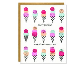 Ice Cream Cone Happy Birthday Card / Letterpress Printed Sweet Treats in Neon Ink / Summer Birthday