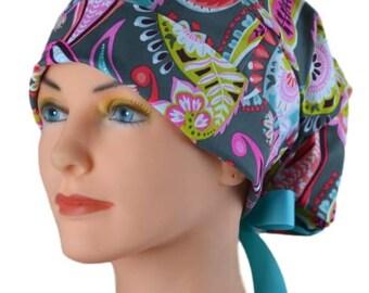 Scrub Hats // Scrub Caps // Scrub Hats for Women // The Hat Cottage // Small // Ribbon Ties // Gray Paisley