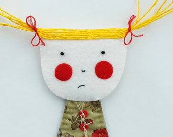 Shy Girl - Jess - Wall Hanging - Figure - Art Doll - Wall Decor