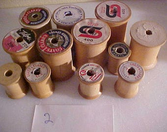 lot of 12 vintage Wooden Sewing Spools #2