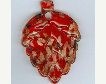 CLEARANCE 57mm x 40mm Bright Red with Gold Glass Lampwork Leaf Focal Bead Pendant