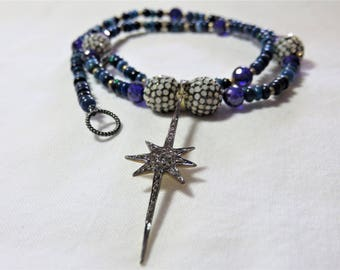 """Oxidized Sterling Silver Diamonds """"Star"""" Pendant, Natural Opal and Amethyst Beads and Oxidized Sterling Silver Necklace"""