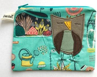 Owl Felt Applique zipper pouch, organic cotton, lined, gift idea, owls