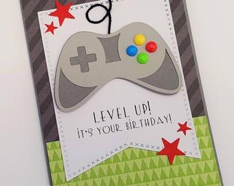 Gamer Birthday Card, Videogame Controller Birthday Card