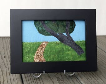 Farm Art - Fiber Art - Country Landscape - Small Quilt Art - Fabric Postcard - Dad Gift - Gift for Him - Modern Rustic Art - Serene Art