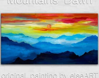 Sale Mountain skyline Oil Painting,Original Abstract Painting blue skyline Landscape Painting Rising Sun by tim lam 48x24x1.3