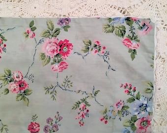 Vintage Laura Ashley Pillow Sham - Standard- Green Floral w Ric Rac