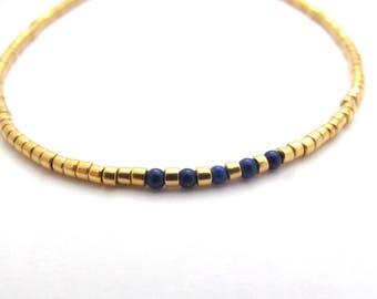 Dainty Beaded Bracelet Lapis Lazuli Gemstone Delica Beads, Friendship Bracelet, Gift for Her Woman Co Worker, Stone Bracelet