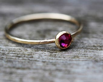 gold filled rose swarovski hammered stacking ring handcrafted any size
