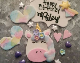 Personalized Unicorn Fondant Cake Topper Set