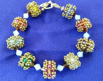 Amber Rainbow Beaded Bead Bracelet