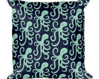 Deep Sea Octopus Square Pillow