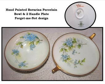 Antique Hand Painted Porcelain Bowl & 2 Handled Plate w/ Blue Forget Me Not flowers, Signed, Imperial Crown China Austria, Bavaria