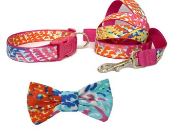 ELECTRIC FEEL Dog Collar and/or Leash on Dark Pink with Bow or Flower Option Made from Lilly Pulitzer Fabric Size: Your Choice