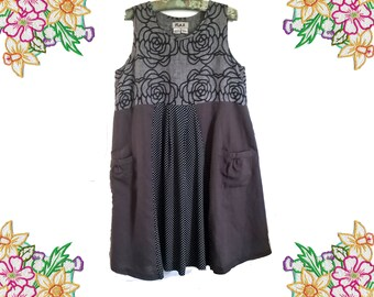 Refashion Linen and Cotton  Dress. Grey, black and taupe cotton and linen full dress. Size Medium.  Upcycled Clothing.