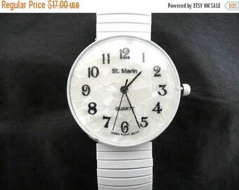 SALE Clearance SALE FUN Vintage 80's 90's Big White metal stretch Watch - St Martin