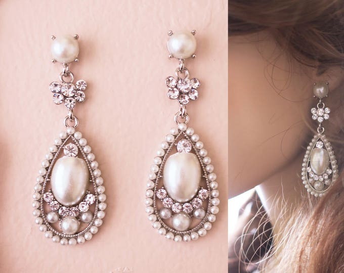 Art Deco Crystal Bridal Earrings Drop Pearl Chandelier