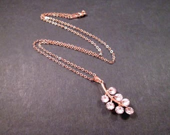 Cubic Zirconia Necklace, Leaf Vine Necklace, Rose Gold Chain Necklace, FREE Shipping U.S.