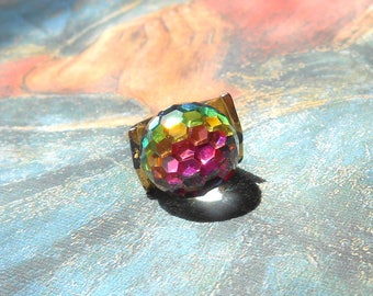 Vintage 1970s Faceted Rainbow Crystal Ball Adjustable Ring - Disco Ball Ring, Micro Faceted Crystal, Vitrail Medium Crystal, Swarovski, Gold