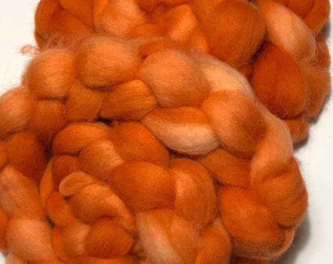 Kettle Dyed Cheviot Wool top. Roving.  Spin. Felt. Soft and easy to work with. 1/2lb. Pumpkin