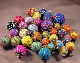 Handmade Embroidered Felt Beads by Mona Sullivan - One Only Embellished Felt Bead -by Monaslampwork on Etsy Bohemian Gypsy Boho Seed Beads