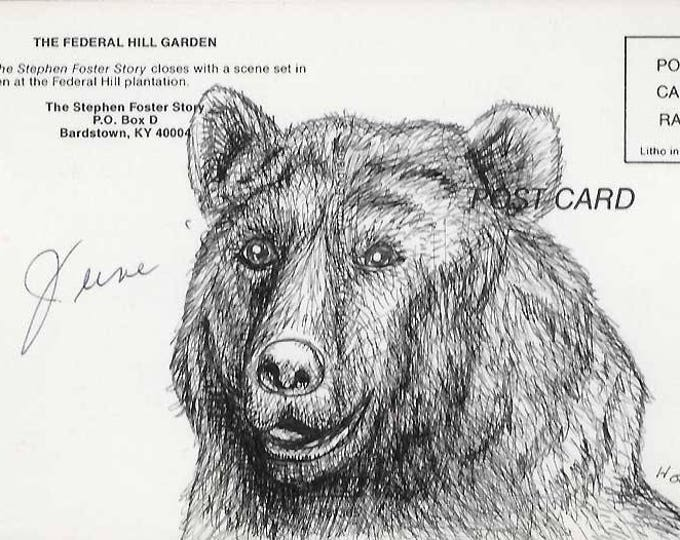 Bear - Original drawing on Vintage Post Card by Mr Hooper of Nashville, Tennessee