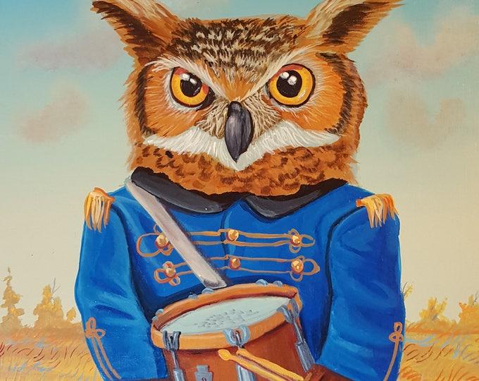 Owl Drummer - Original painting by Mr Hooper of Nashville, Tennessee