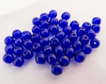 Vintage Japan Cherry Brand 1951 Cobalt Blue Round Spacer Glass Beads - 4mm - Lot of 40