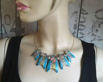 collier ras de cou avec perles en argile polymère - bois tursquoise - nouvelle collection