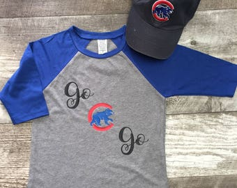Boys Unisex Girls Chicago Cubs Cubbies Bear Go Baseball T 3/4 Sleeve T Shirt White Red modern graphic trendy toddler kid