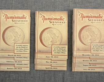 Ten Vintage Numismatic Scrapbook Magazine 1953  A Monthly Magazine for the Collector of Coins Tokens Medals and Paper Money