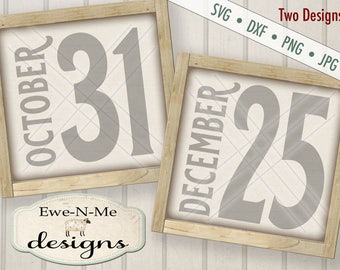 October 31 svg - December 25 svg - numbers svg - halloween christmas numbers svg - numbers svg bundle - Commercial use svg, dxf, png, jpg
