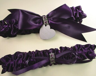 Purple Wedding Garter Set in Satin with Amethyst Swarovski Crystals and Engraving
