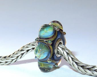Luccicare Lampwork Bead - Wheel I -  Lined with Sterling Silver