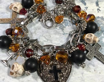 Day of the Dead #2 ,altered art charm bracelet ,Free Shipping in USA, one of  a kind,  all handmade, mixed media  bostoncharm  ebsq