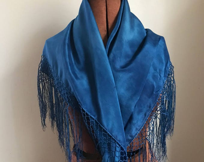 Indigo hand dyed fringed silk scarf, lightweight and warm, square silk wrap, hip scarf, shawl