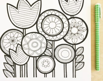Scandi Flower Screen Print by Jane Foster  - signed