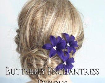 Wedding Hair Flowers, Bridal Hair Accessories, Bridesmaid Flower Girl Headpiece Gift - 3 Dark Purple Wild Orchid Flower Bridal Hair Pins