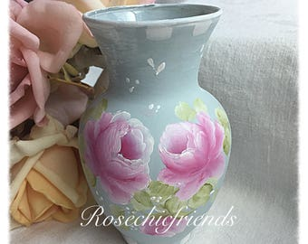Petitie VASE Shabby Cottage Blue Hand painted Pink Roses ECS svfteam