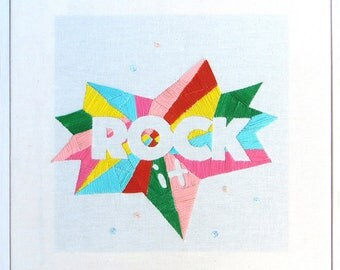 Rock it Embroidery, Embroidery art, Embroidery illustration, Hand embroidery, Modern wall hanging, Framed embroidery, modern embroidery.