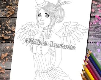 Coloring Page - Digital Stamp - Printable - Fantasy Art - Stamp - Adult Coloring Page - SATINKA - by Nikki Burnette