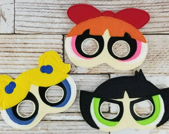 Power Puff Girls Masks SET of 3 felt mask for Birthday Parties, Halloween, Dress-up Play, power Puff Halloween Mask, Power Puff Halloween
